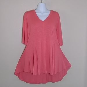 Soft Surroundings coral pink tunic top size Large